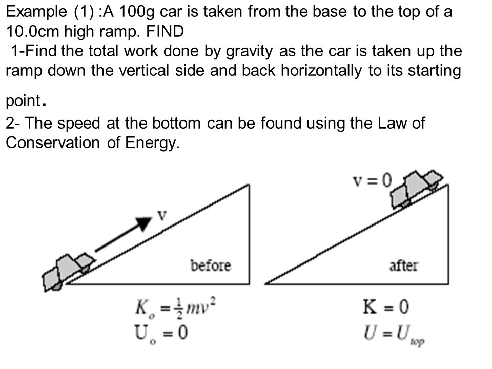 Example (1) :A 100g car is taken from the base to the top of a 10