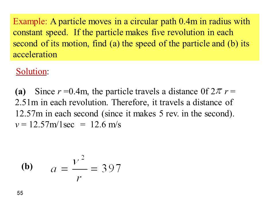 Example: A particle moves in a circular path 0