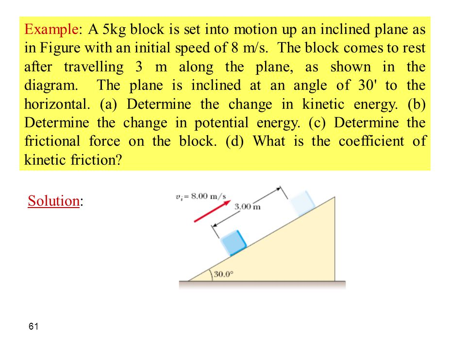 Example: A 5kg block is set into motion up an inclined plane as in Figure with an initial speed of 8 m/s. The block comes to rest after travelling 3 m along the plane, as shown in the diagram. The plane is inclined at an angle of 30 to the horizontal. (a) Determine the change in kinetic energy. (b) Determine the change in potential energy. (c) Determine the frictional force on the block. (d) What is the coefficient of kinetic friction