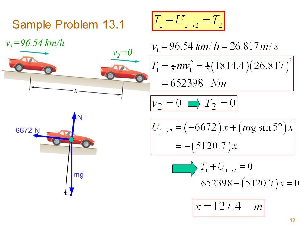 Sample Problem 13.1 v1=96.54 km/h v2=0 N 6672 N mg