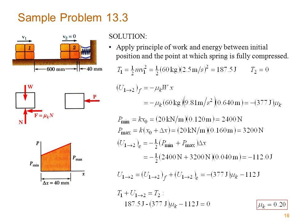 Sample Problem 13.3 SOLUTION: