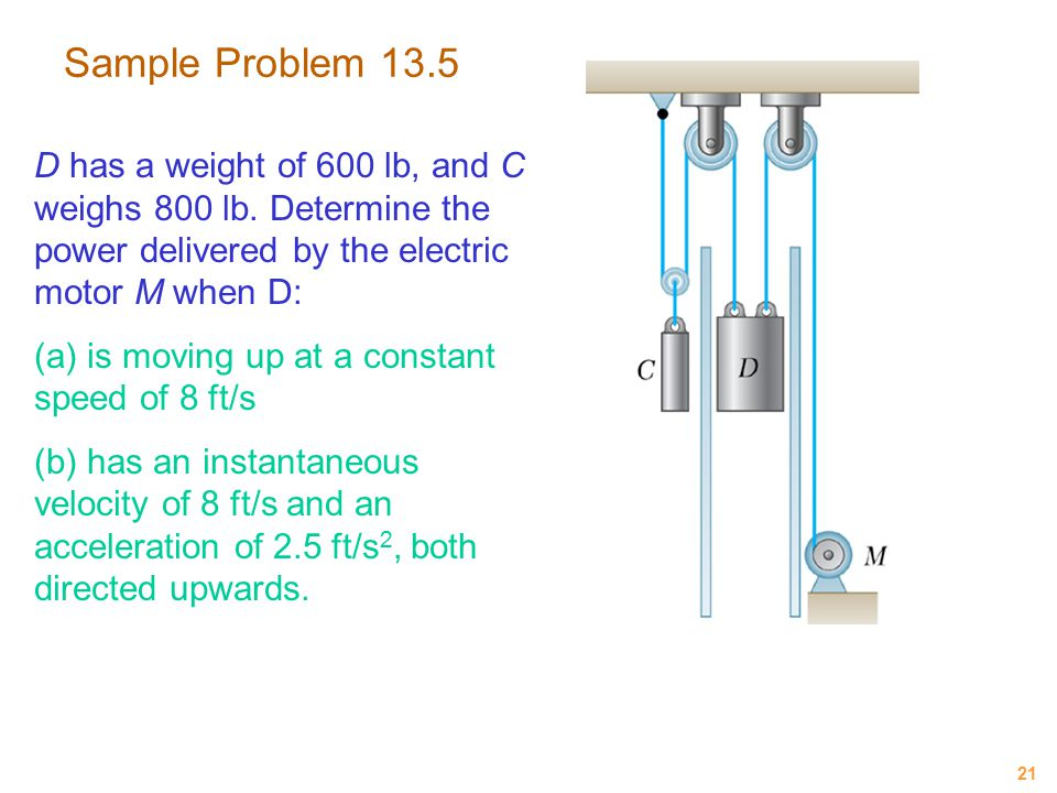 Sample Problem 13.5 D has a weight of 600 lb, and C weighs 800 lb. Determine the power delivered by the electric motor M when D:
