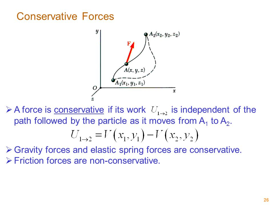Conservative Forces A force is conservative if its work is independent of the path followed by the particle as it moves from A1 to A2.
