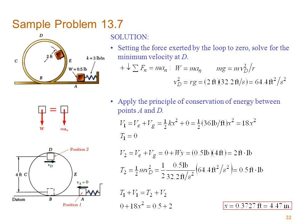 Sample Problem 13.7 SOLUTION: