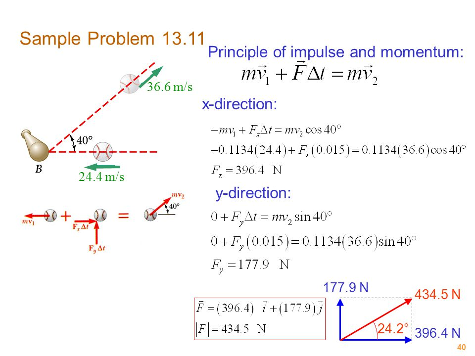 Sample Problem 13.11 Principle of impulse and momentum: x-direction: