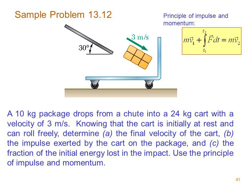 Sample Problem 13.12 Principle of impulse and momentum: