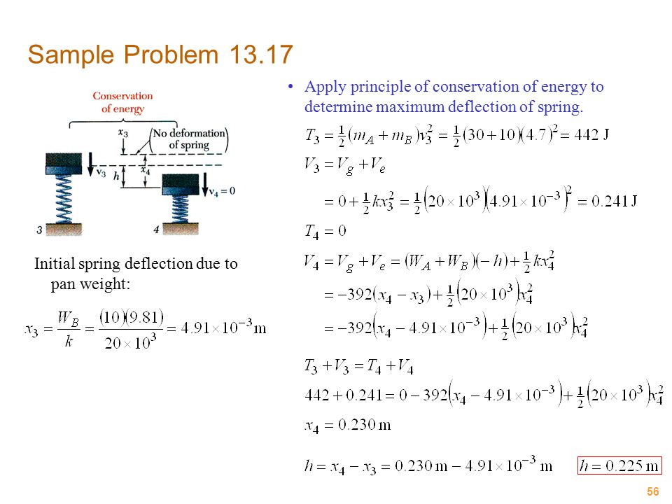 Sample Problem 13.17 Apply principle of conservation of energy to determine maximum deflection of spring.