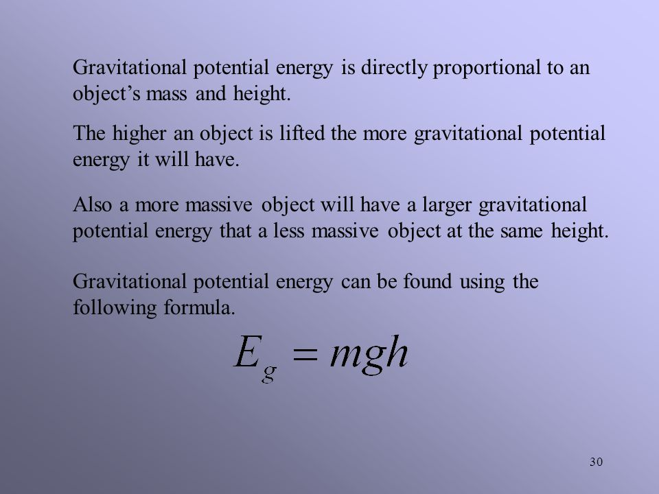 Gravitational potential energy is directly proportional to an object's mass and height.