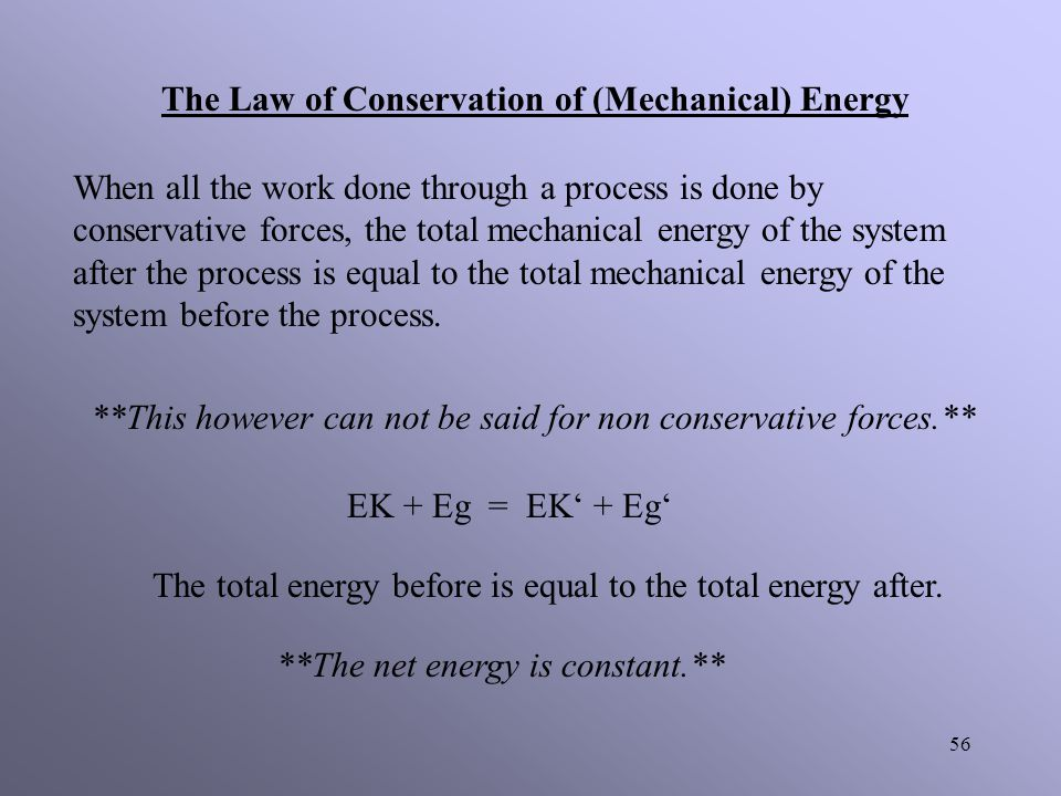 The Law of Conservation of (Mechanical) Energy