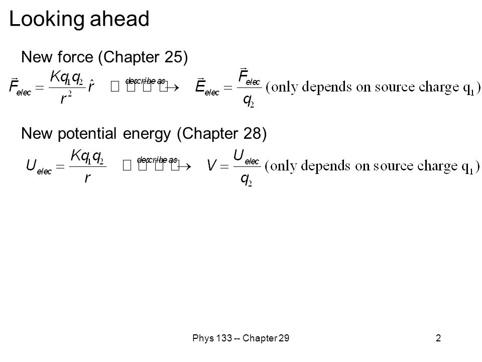 Looking ahead New force (Chapter 25) New potential energy (Chapter 28)