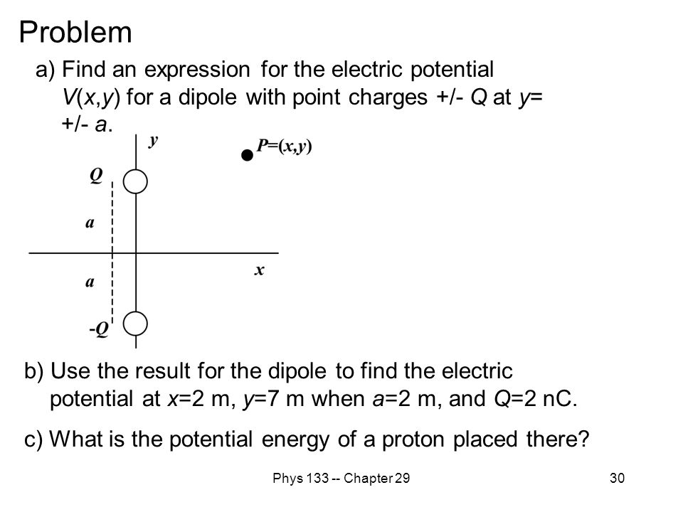 Problem a) Find an expression for the electric potential V(x,y) for a dipole with point charges +/- Q at y= +/- a.