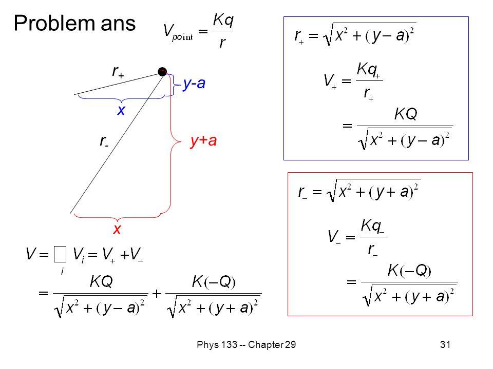 Problem ans r+ y+a y-a r- x x Phys 133 -- Chapter 29