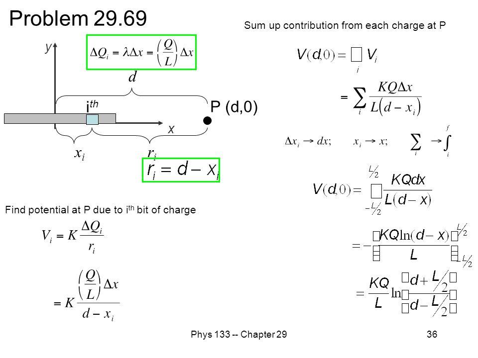 Problem 29.69 d ith P (d,0) xi ri y x