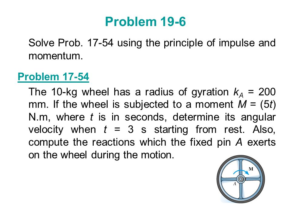 Problem 19-6 Solve Prob. 17-54 using the principle of impulse and momentum. Problem 17-54.