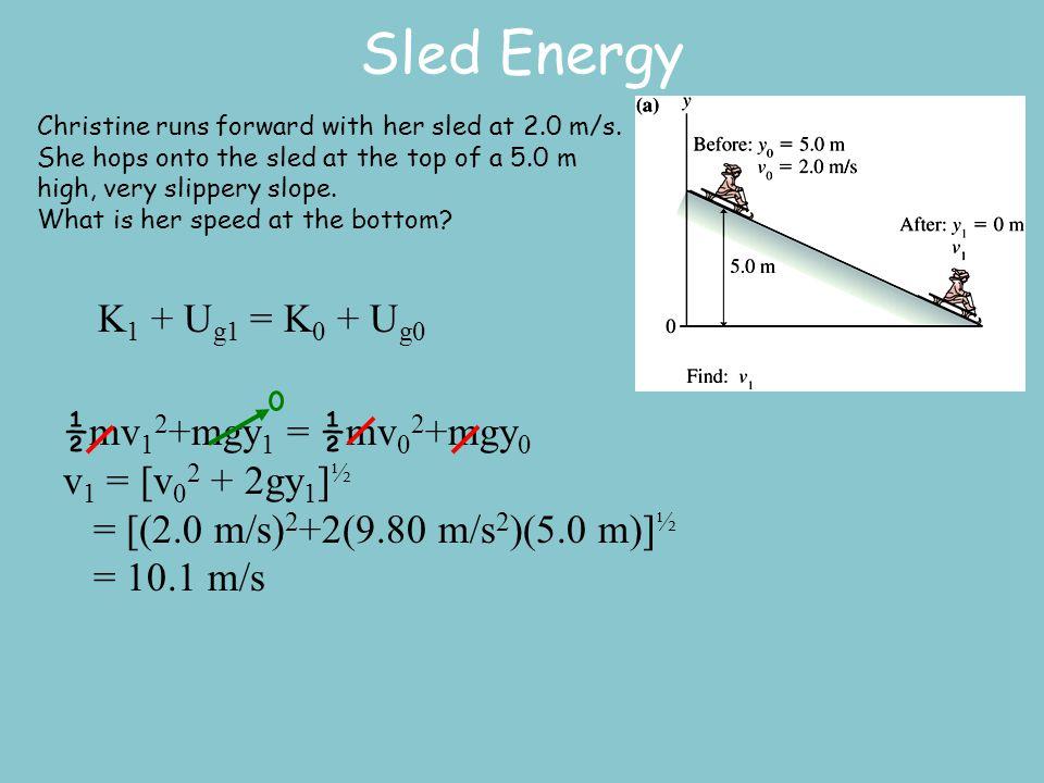 Sled Energy K1 + Ug1 = K0 + Ug0 ½mv12+mgy1 = ½mv02+mgy0