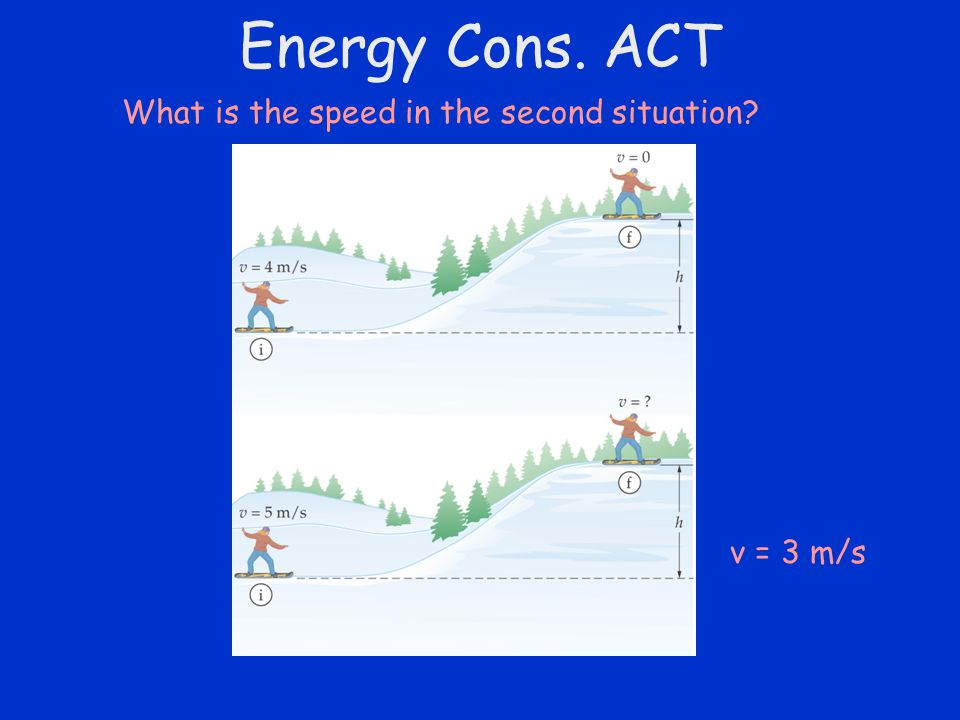 Energy Cons. ACT What is the speed in the second situation v = 3 m/s