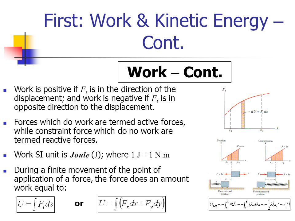 First: Work & Kinetic Energy – Cont.