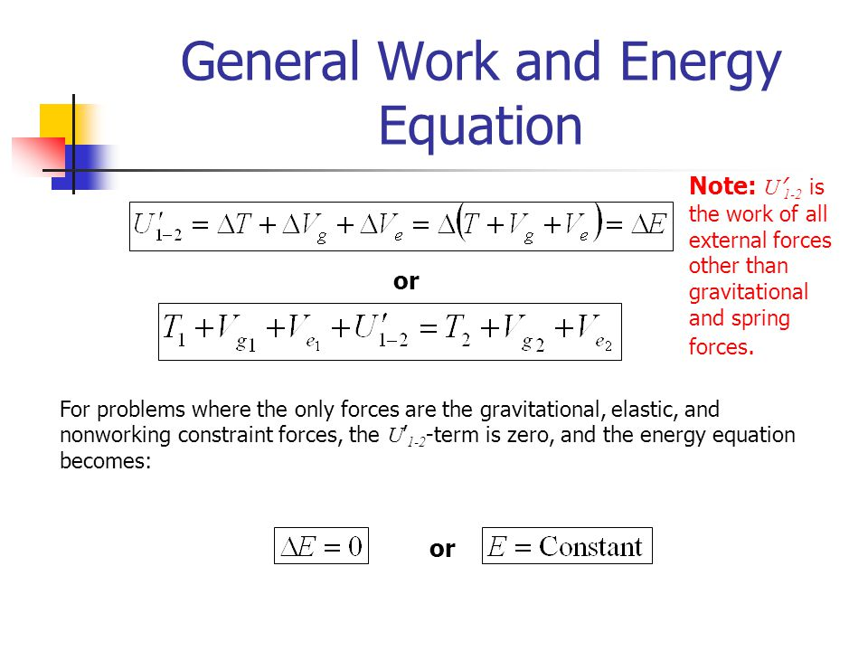 General Work and Energy Equation