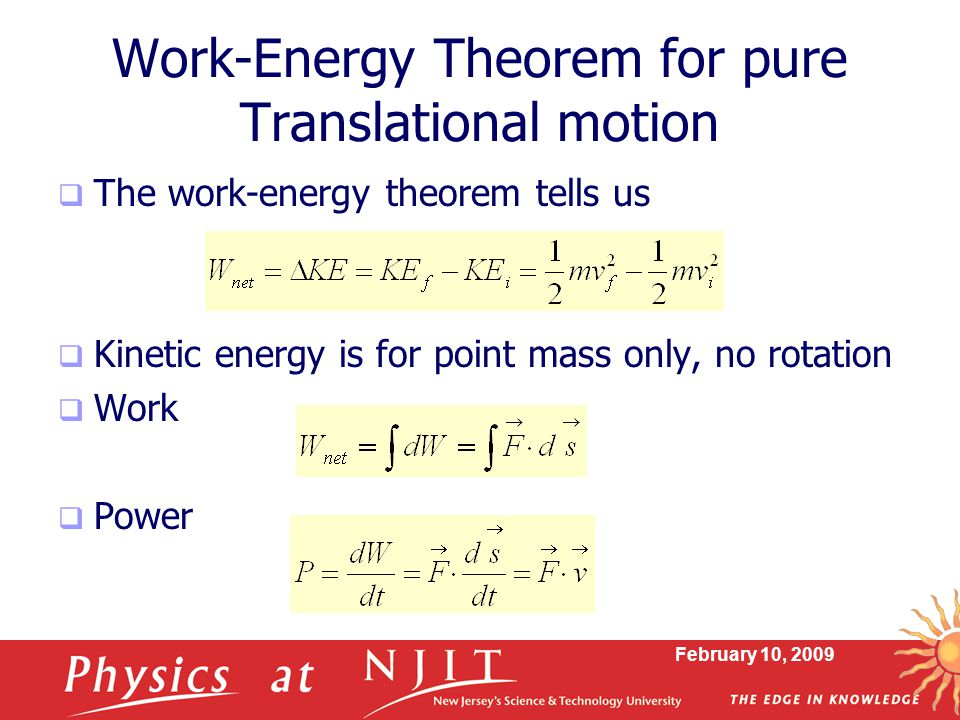Work-Energy Theorem for pure Translational motion