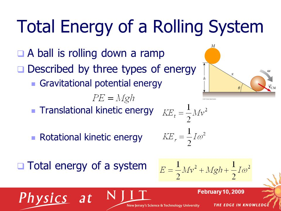 Total Energy of a Rolling System