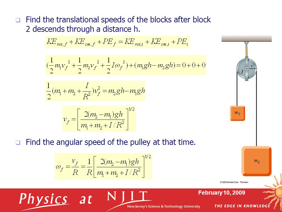 Find the angular speed of the pulley at that time.