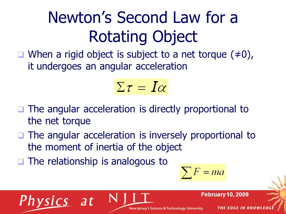 Newton's Second Law for a Rotating Object