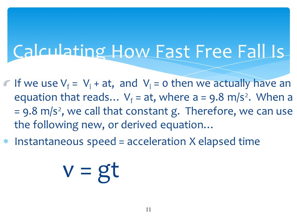 Calculating How Fast Free Fall Is