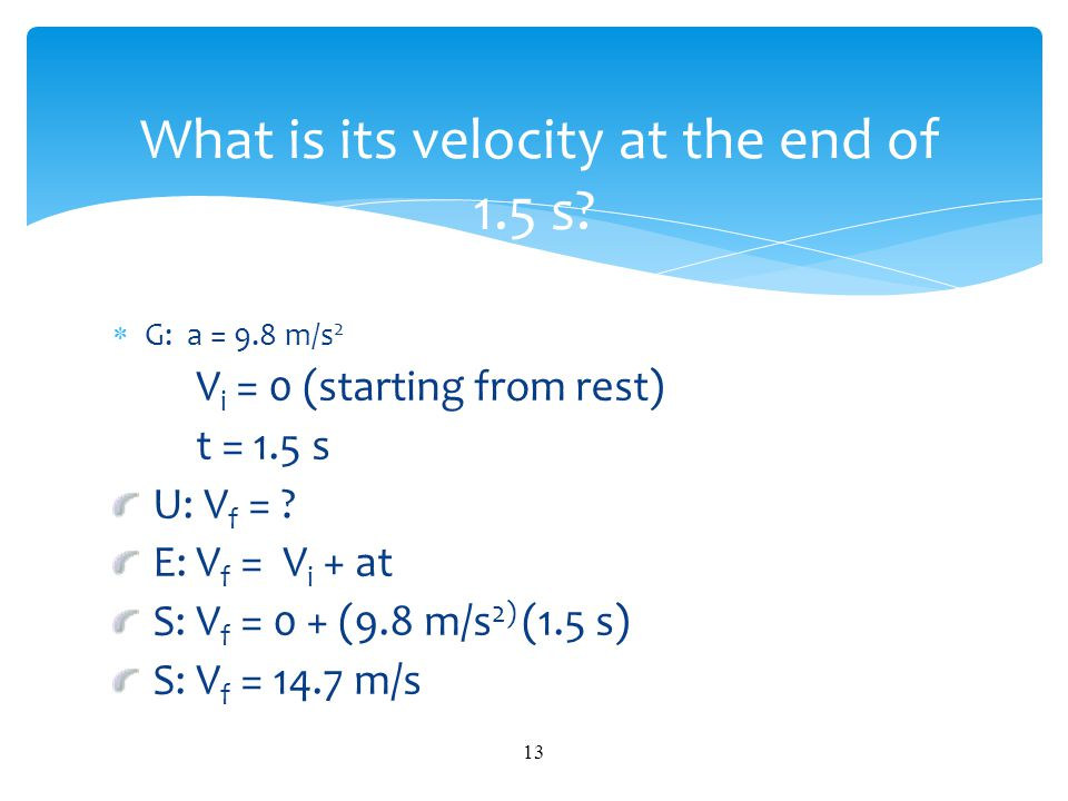 What is its velocity at the end of 1.5 s
