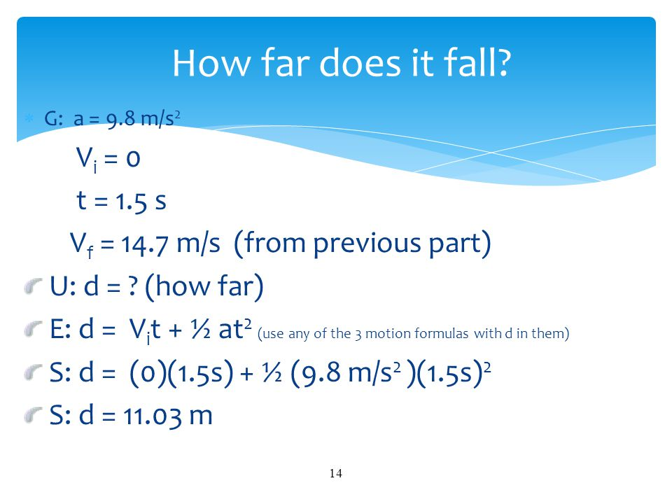 How far does it fall Vi = 0 t = 1.5 s