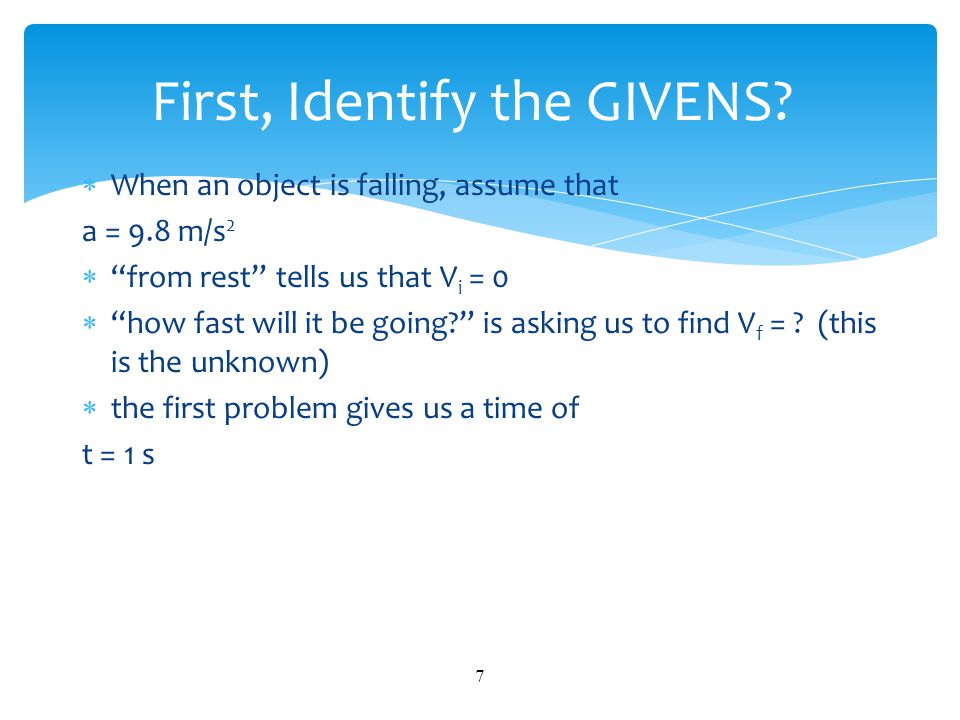 First, Identify the GIVENS