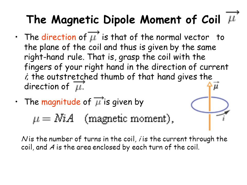 The Magnetic Dipole Moment of Coil