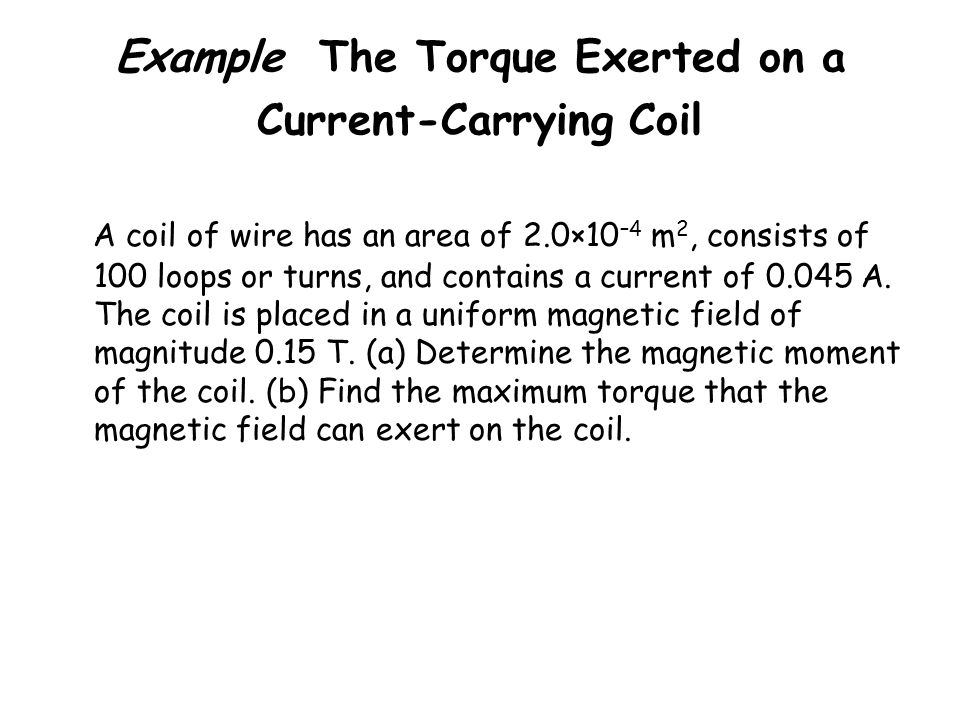 Example The Torque Exerted on a Current-Carrying Coil