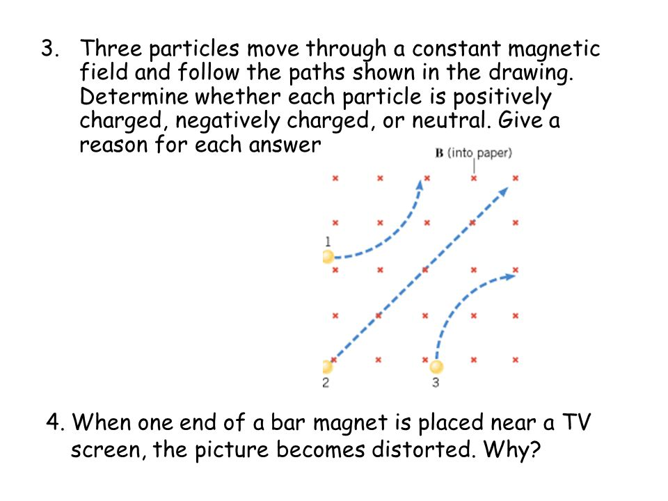 Three particles move through a constant magnetic field and follow the paths shown in the drawing. Determine whether each particle is positively charged, negatively charged, or neutral. Give a reason for each answer.