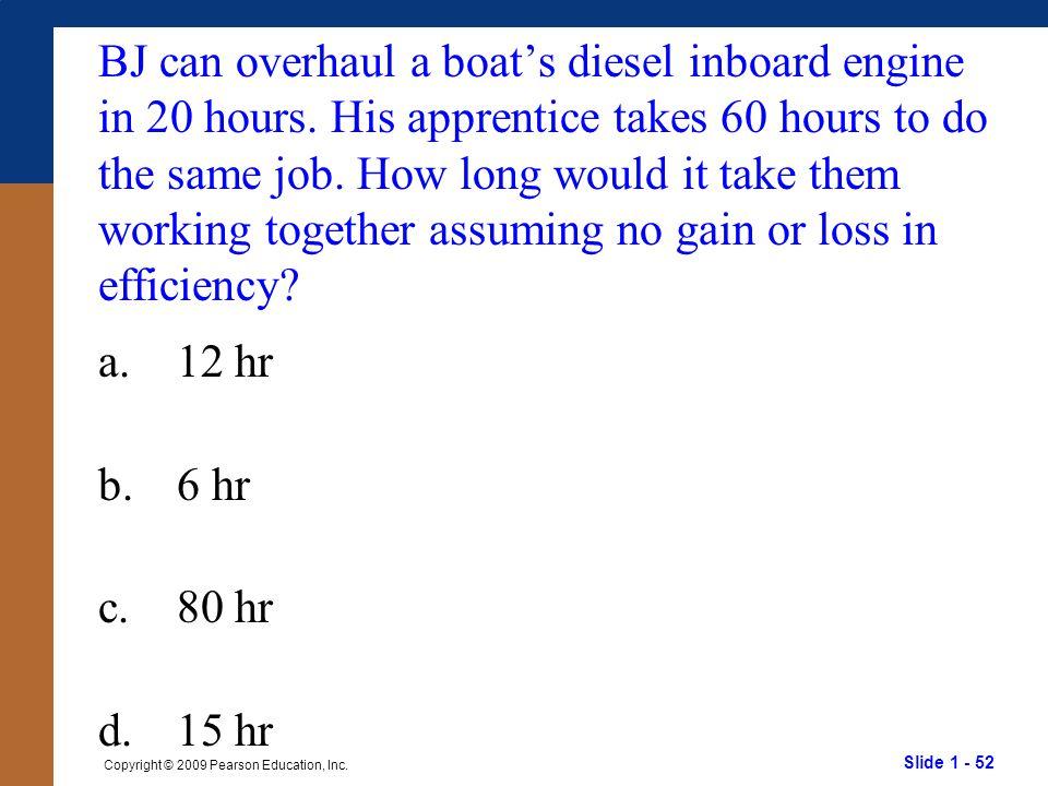 BJ can overhaul a boat's diesel inboard engine in 20 hours