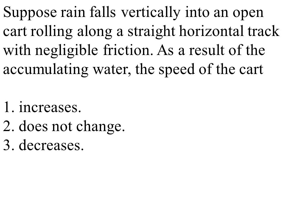 Suppose rain falls vertically into an open
