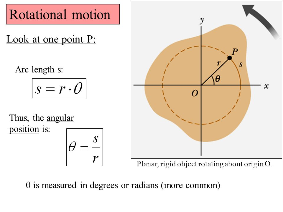 Rotational motion Look at one point P: Arc length s: