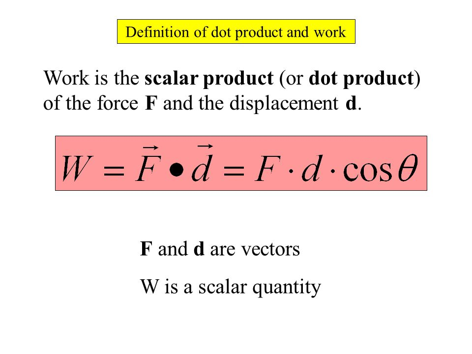 Definition of dot product and work