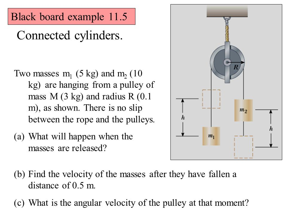 Connected cylinders. Black board example 11.5