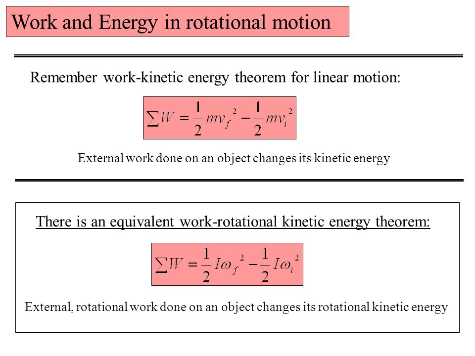Work and Energy in rotational motion
