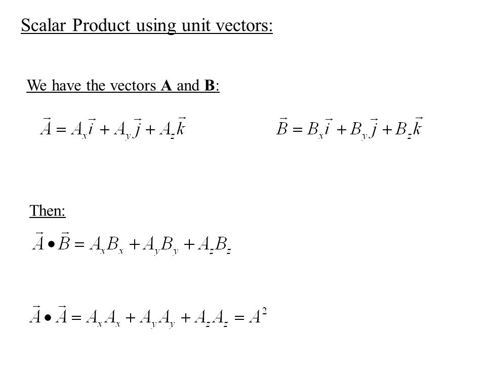 Scalar Product using unit vectors: