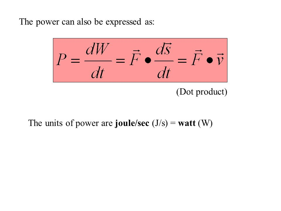 The power can also be expressed as: