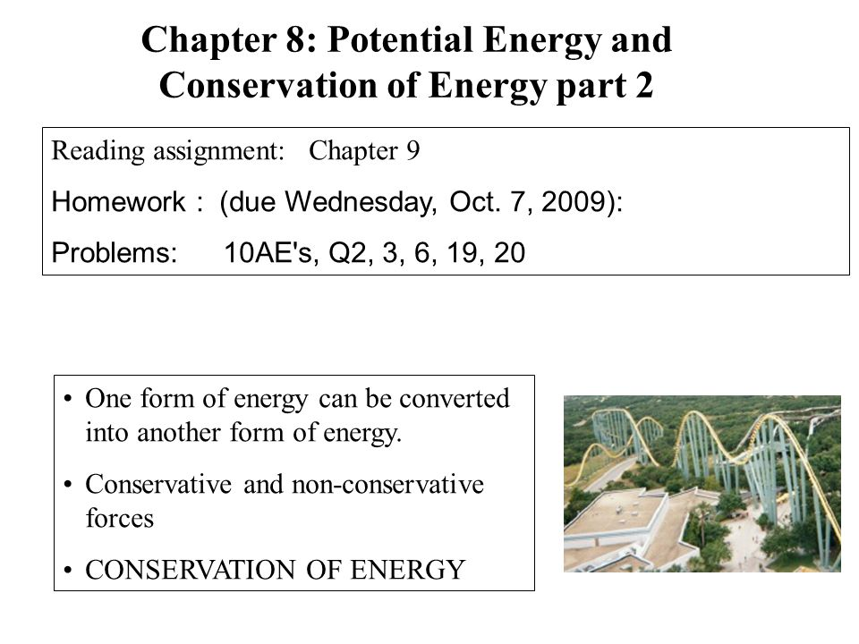 Chapter 8: Potential Energy and Conservation of Energy part 2