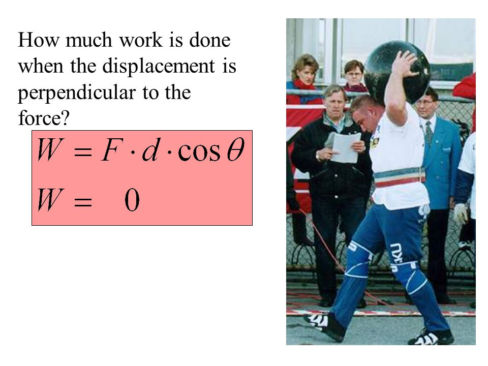 How much work is done when the displacement is perpendicular to the force