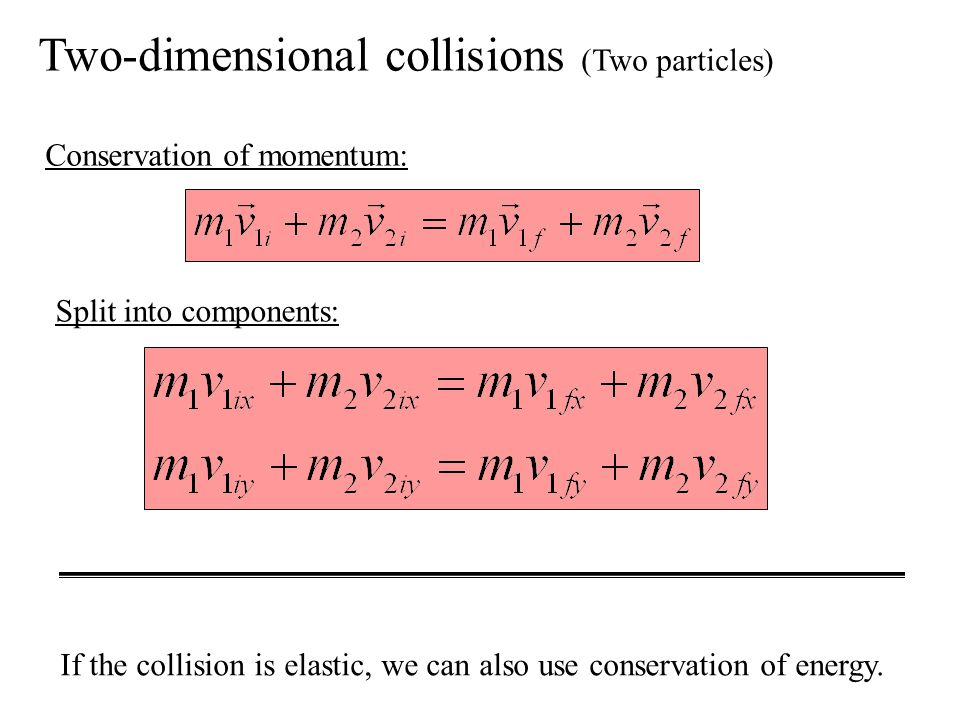 Two-dimensional collisions (Two particles)