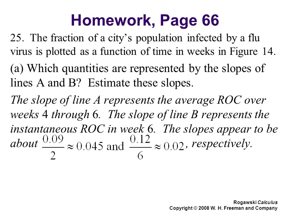 Homework, Page 66 25. The fraction of a city's population infected by a flu virus is plotted as a function of time in weeks in Figure 14.