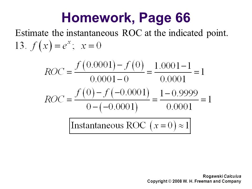 Homework, Page 66 Estimate the instantaneous ROC at the indicated point.