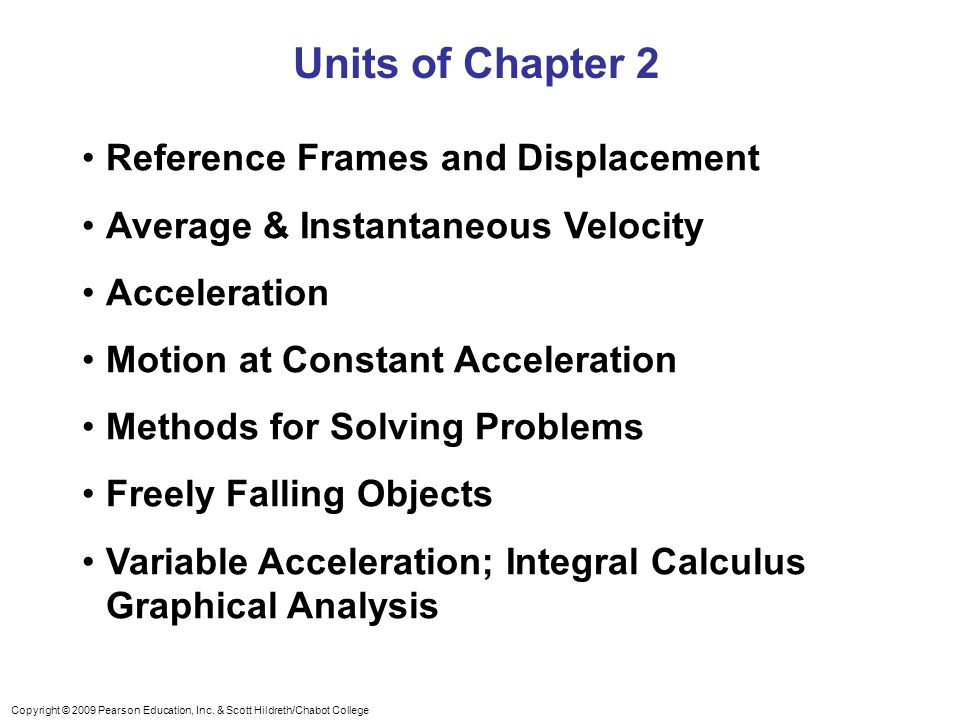 Units of Chapter 2 Reference Frames and Displacement