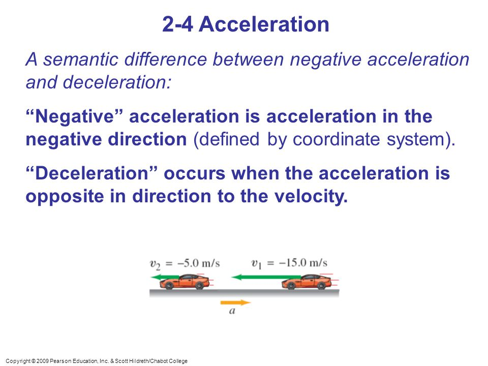 2-4 Acceleration A semantic difference between negative acceleration and deceleration: