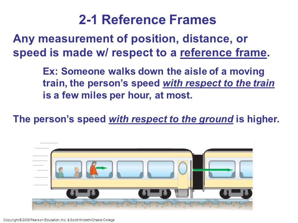 2-1 Reference Frames Any measurement of position, distance, or speed is made w/ respect to a reference frame.