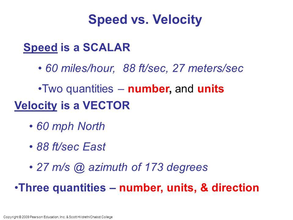 Speed vs. Velocity Speed is a SCALAR